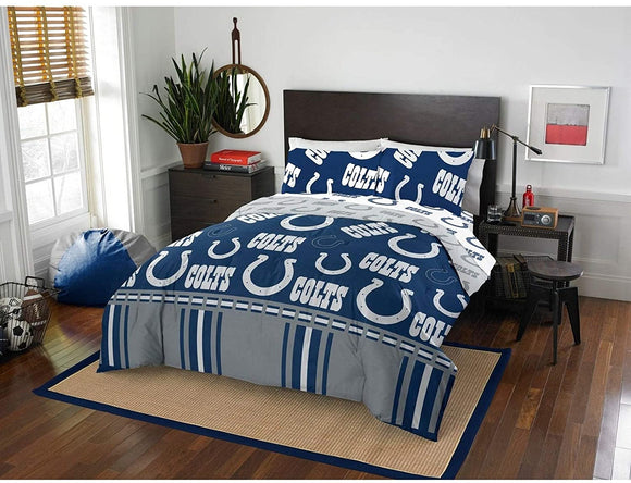 MISC 5 Piece Colts Comforter & Sheets Set Full Football Sports Bedding Boys Kids Bedroom Team Logo Printed Collegiate Pattern Home Decor Game Fans