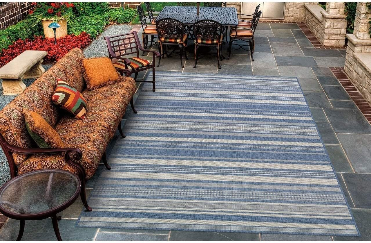 "Stripe Champagne Blue Indoor/Outdoor Runner Rug 2'3"" X 11'9"" Blue Ivory Casual Transitional Rectangle Polypropylene Synthetic Contains Latex"