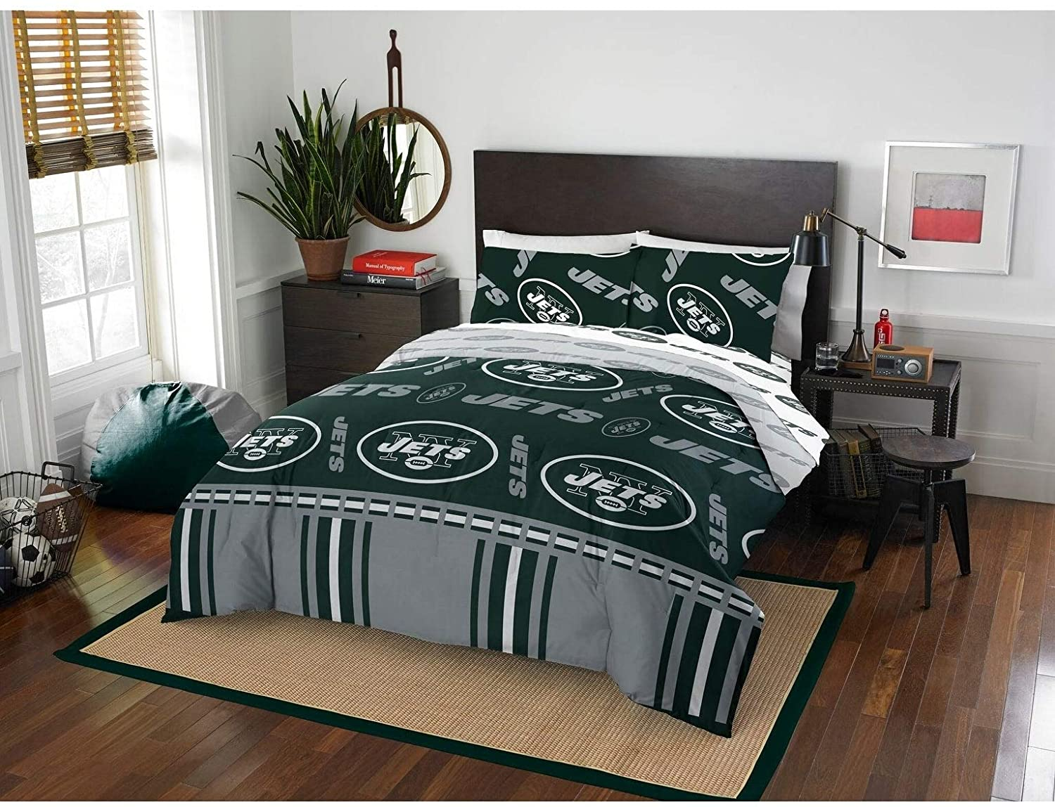 MISC 5 Piece Jets Comforter & Sheets Set Full Football Sports Bedding Boys Kids Bedroom Team Logo Printed Collegiate Pattern Home Decor Game Fans Gift