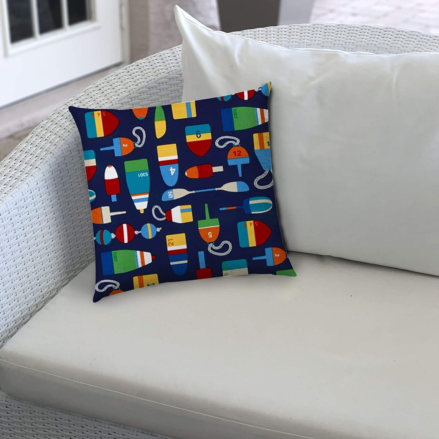Buoy Navy Indoor/Outdoor Pillow Sewn Closure (Set 2) Color Tropical Modern Contemporary Polyester Water Resistant