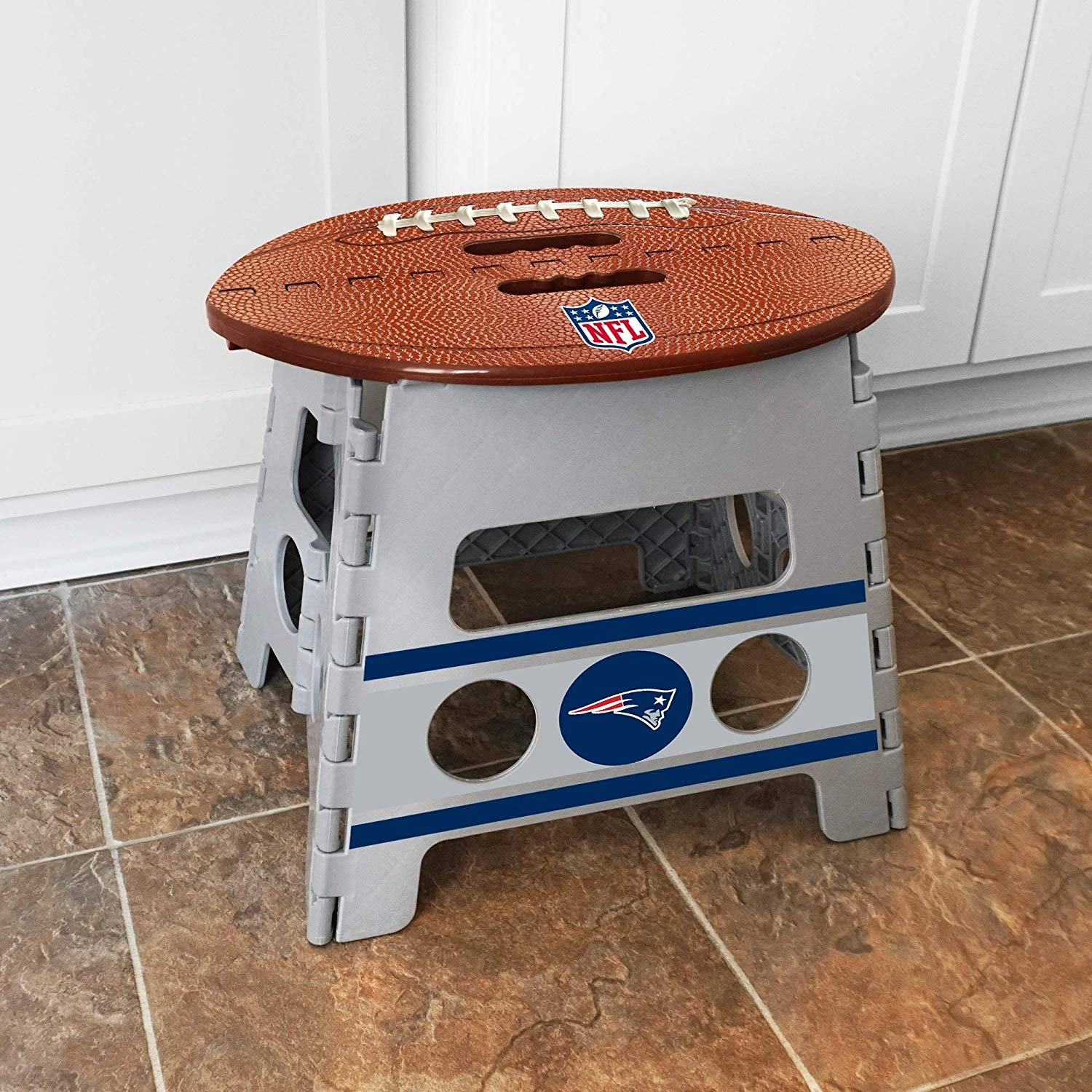 NFL New England Patriots Folding Step Stool Football Shape Sports Design 1 Step Folding Stool Handle Bedroom Bathroom Kitchen Garden Indoor 250 Lbs