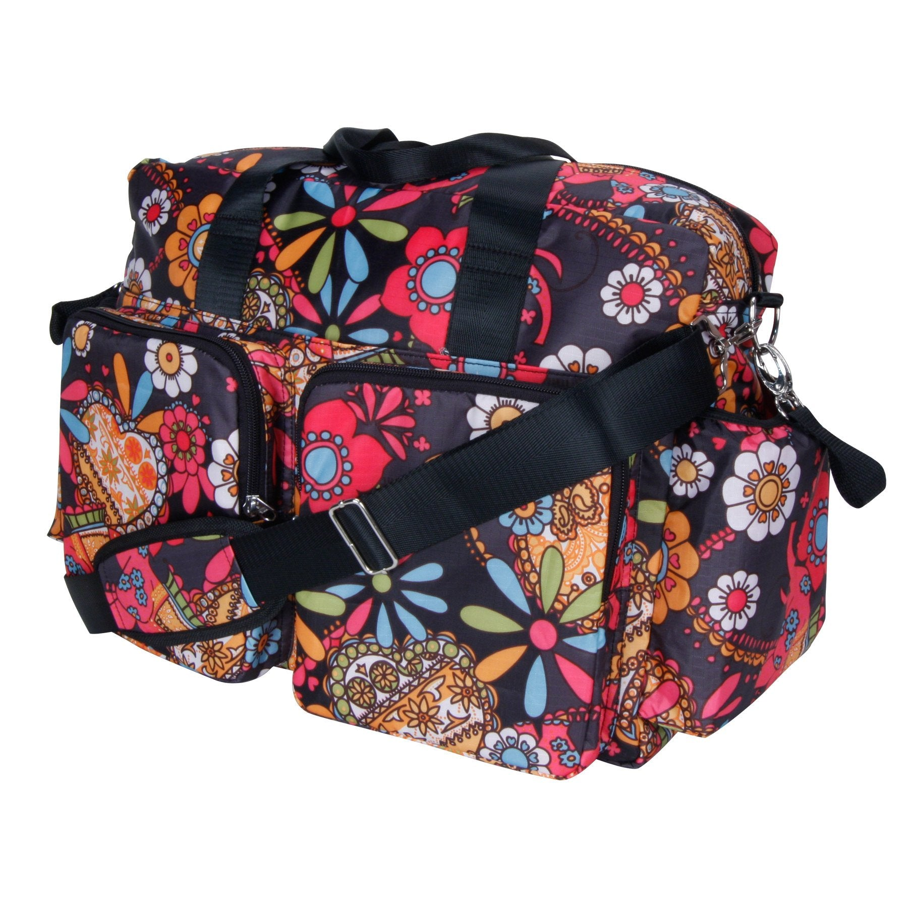 MI 1 Piece Pink Black Floral Large Diaper Bag Babies Baby Nursery Tote Backpack Carrier Flowers Lily Pad Flower Pattern Design Roomy Changing Pad