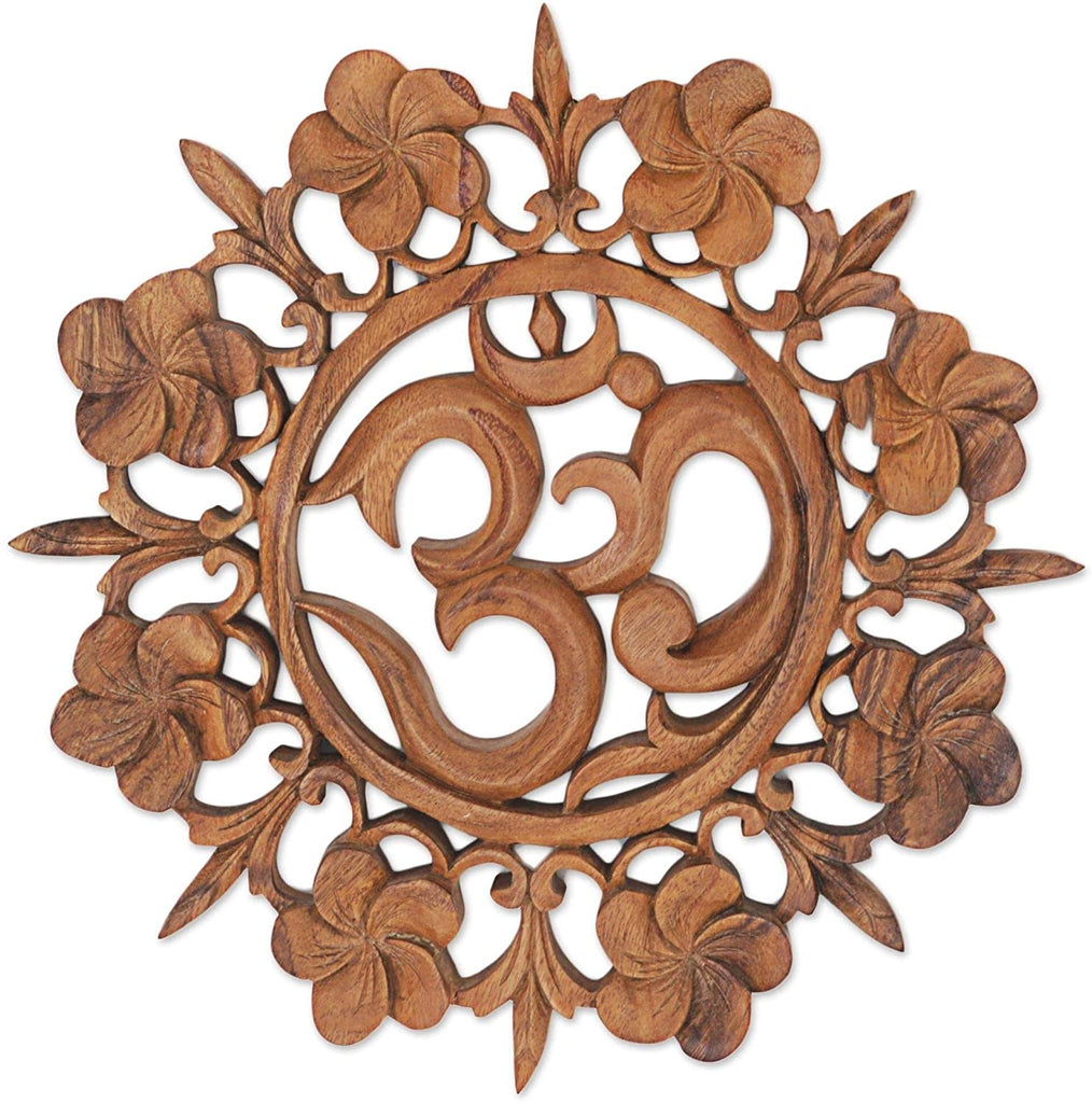 Om is Life Wood Wall Relief Brown Modern Contemporary Handmade