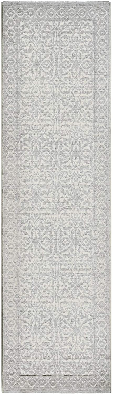"MISC Gray Area Rug 2'2"" X 7'10"" Runner Cream Grey Floral Botanical Polypropylene Contains Latex"