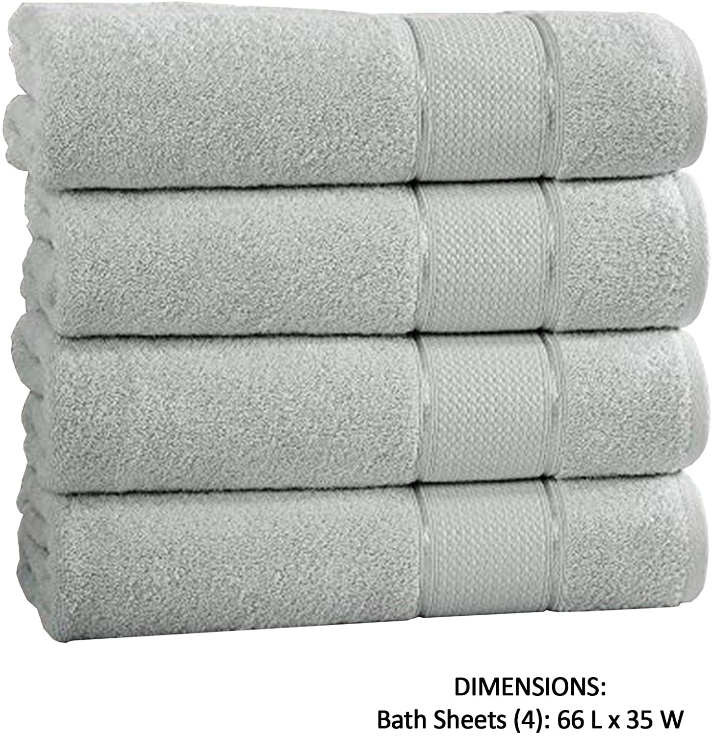 Unknown1 4 Piece Loft Bath Sheets Twill Weaving Gray Grey Solid Color Cotton Same Size Set