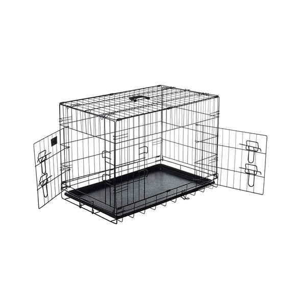 30 Inch Dog Crate Single Door Kennel Collapsible Dog Cage Small Dogs Metal Divider Folding Portable Strong Durable Sturdy Black