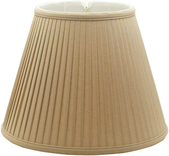 Deep Empire Side Pleat Basic Lamp Shade Linen/Taupe 8 X 14 11 Traditional