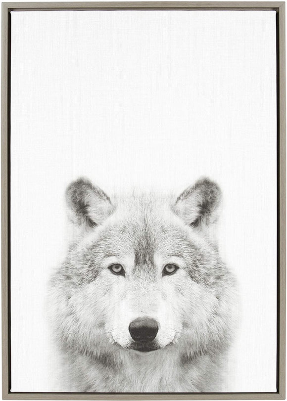 Wolf Framed Canvas Wall Art Te Tai Gray 23x33 Modern Contemporary Rectangle