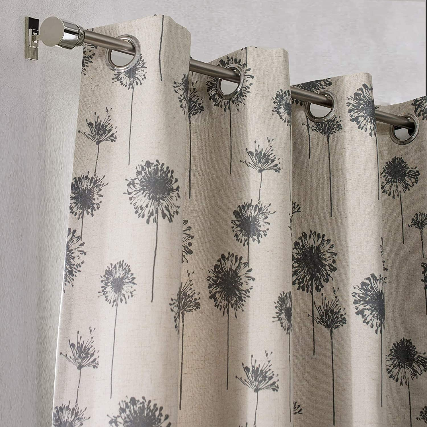 "UKN Dandelion Floral Botanic Linen Blend Lined Grommet Window Curtains 52"" Width X 84"" Length Grey Modern Contemporary Thermal"