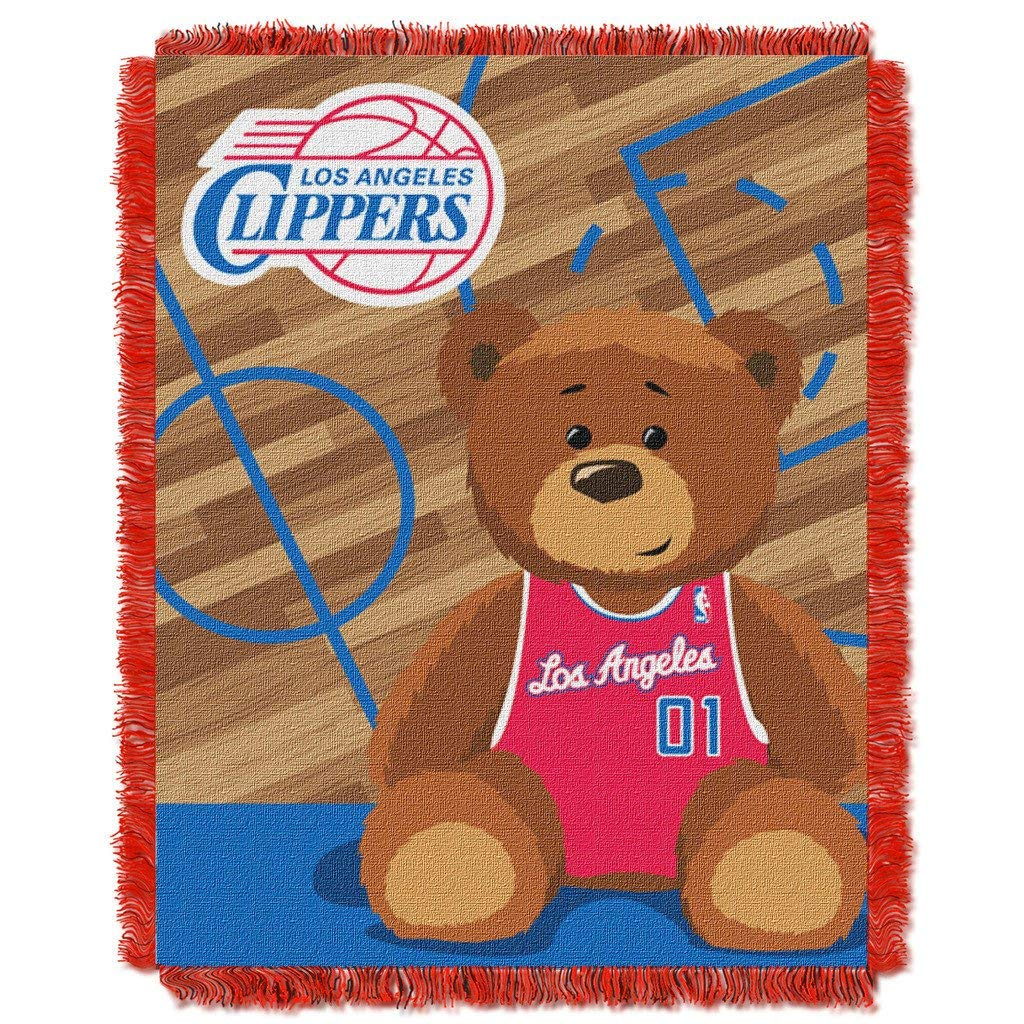 "36""x46"" NBA Clippers Baby Throw Sports Basketball Blanket Teddy Bear Animal Team Logo Printed Plush Cozy Throw Blanket Kids Soft Warm Bedding Fringed"