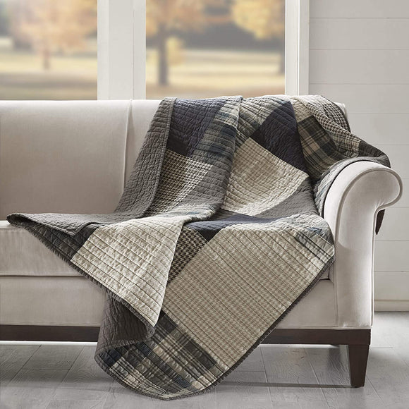 Winter Hills Tan Cotton Thread Count Printed Quilted Throw Brown Plaid Farmhouse