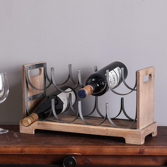 Brown Wine Racks Countertop Black Rustic 8Bottle Wine Rack Holder Storage Antique Contemporary Metal Wood