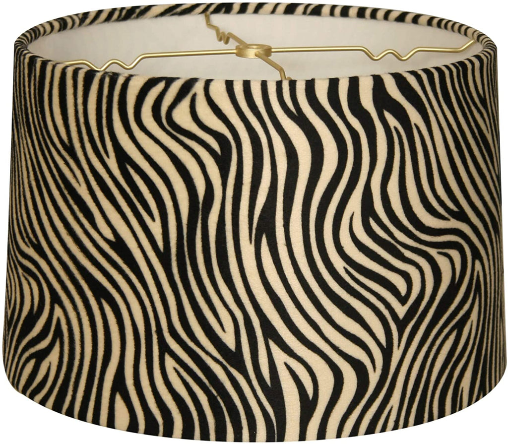 Shallow Drum Lamp Shade Zebra 15 X 16 10 Black Traditional