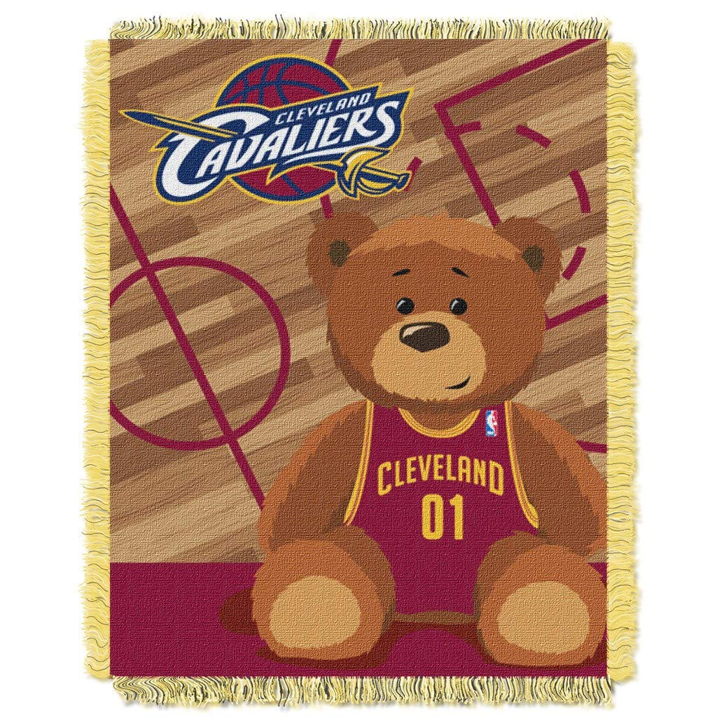 "36""x46"" NBA Cavaliers Baby Throw Sports Basketball Blanket Teddy Bear Animal Team Logo Printed Plush Cozy Throw Blanket Kids Soft Warm Bedding Fringed"