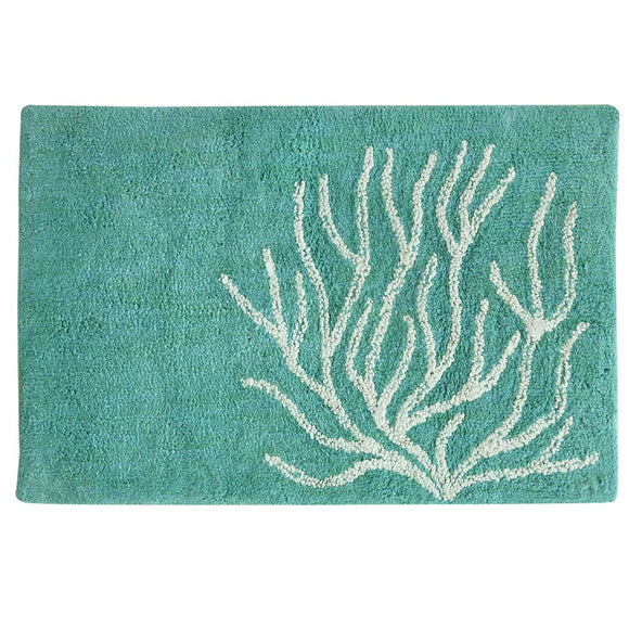 Beach Themed Bath Mat Coastal Aquamarine Green White Coral Reef Bathroom Rug Tub Shower Cotton