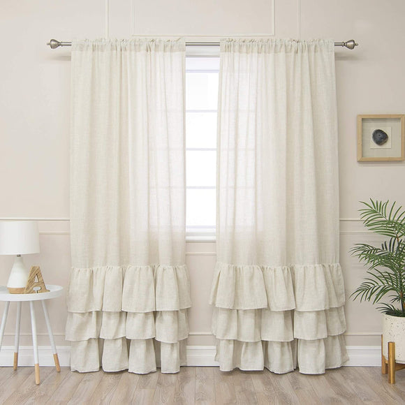 Linen Blend Ruffle Bottom Curtain Panel 52 X 84 Neutral Solid Farmhouse French Country Shabby Chic Polyester
