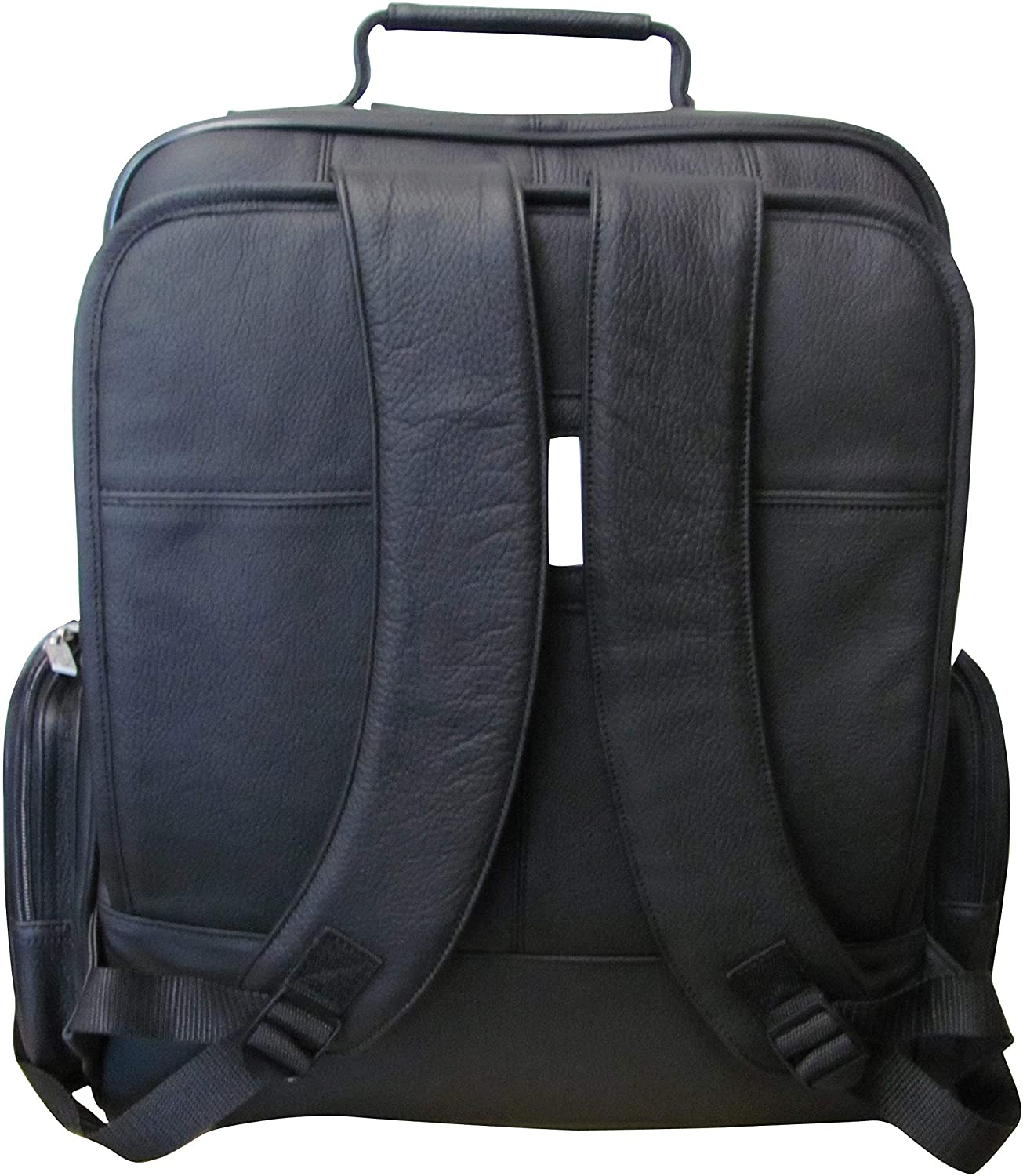 CEO Black Leather Backpack Solid Compartment Adjustable Strap Lined