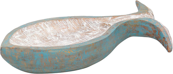 Wash Blue Wood Carved Fish Shaped Bowl White