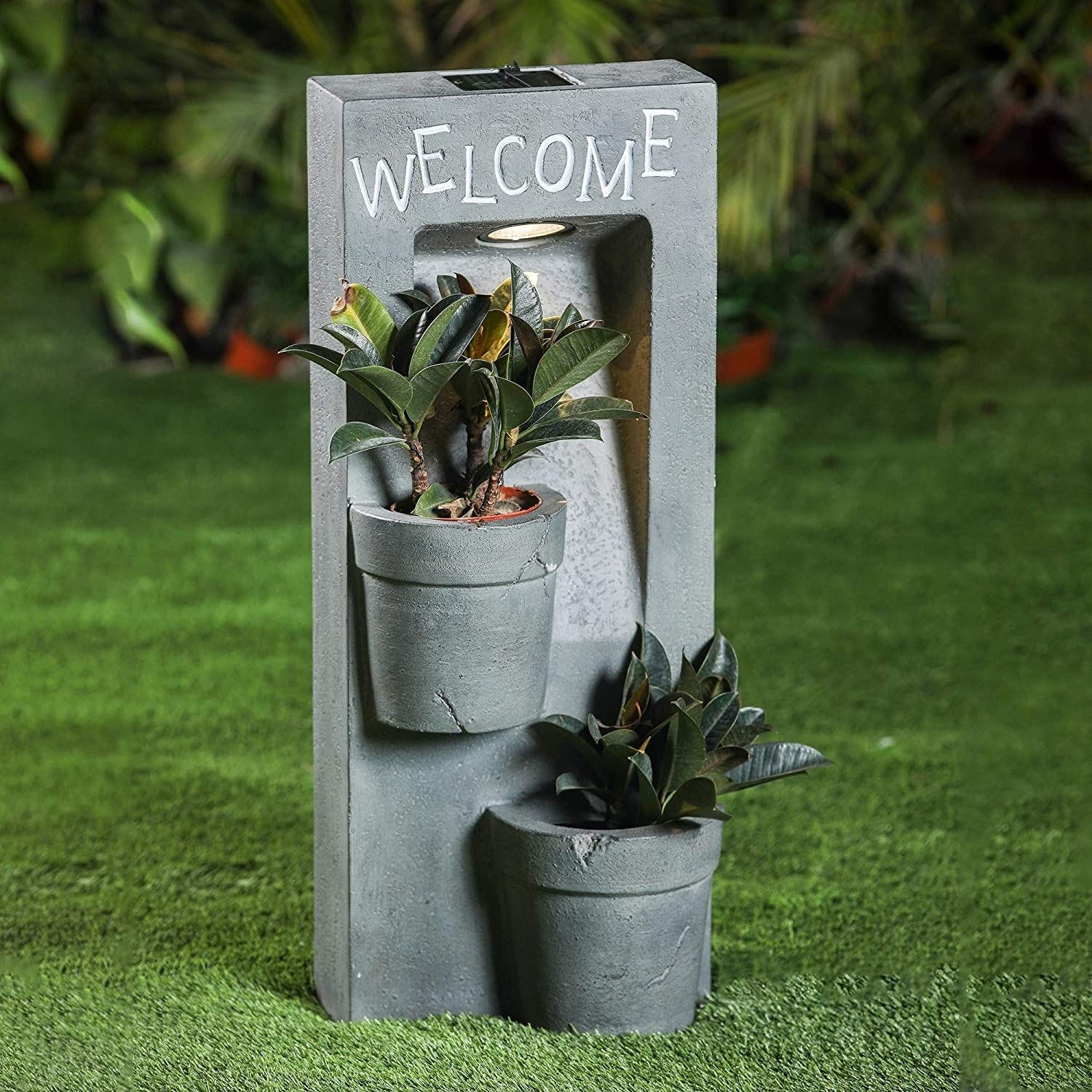 Welcome Two Pot Planter Station Solar Light Grey