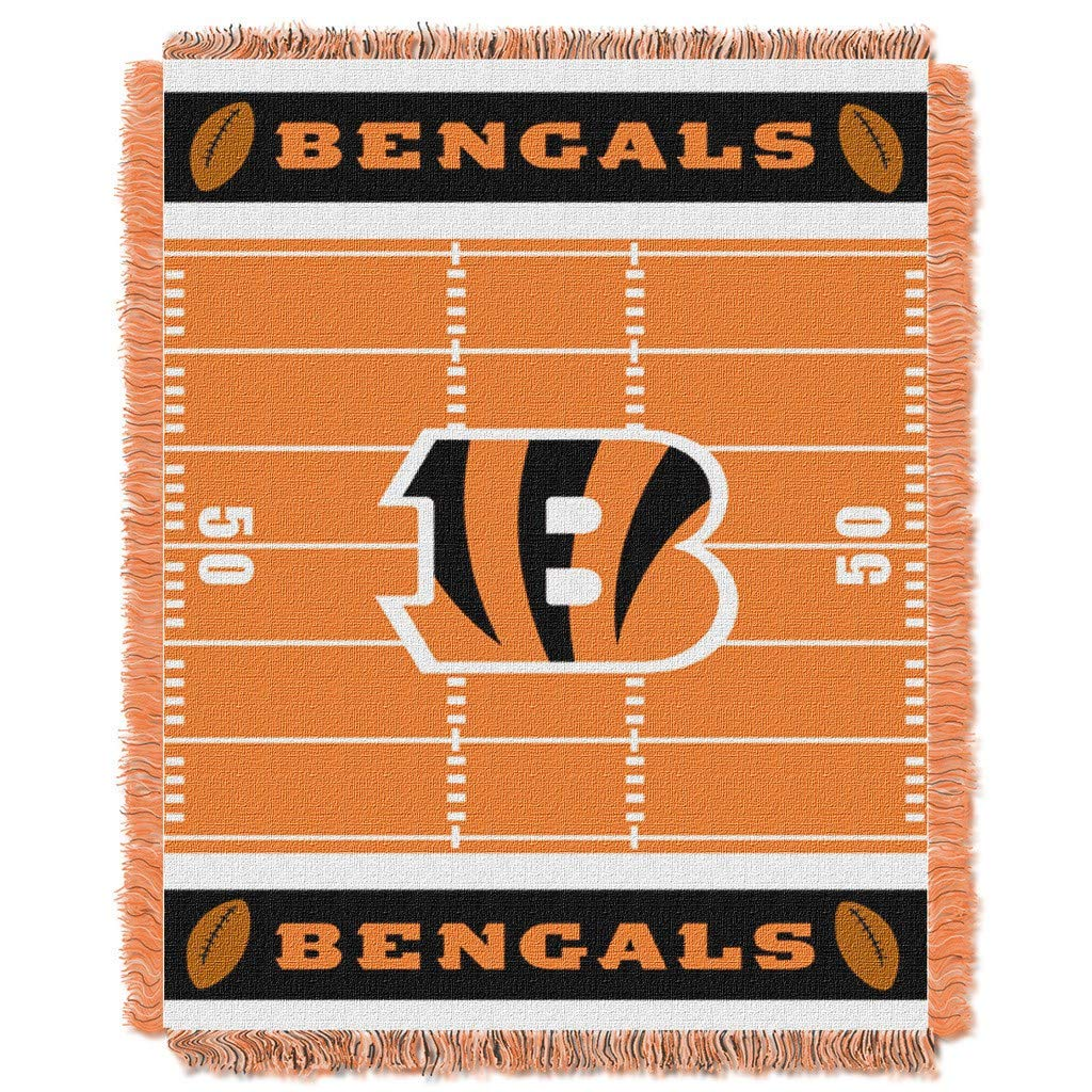 "36""x46"" NFL Bengals Baby Throw Sports Football Blanket Team Logo Printed Football Field Plush Cozy Throw Blanket Kids Super Soft Warm Bedding Fringed"