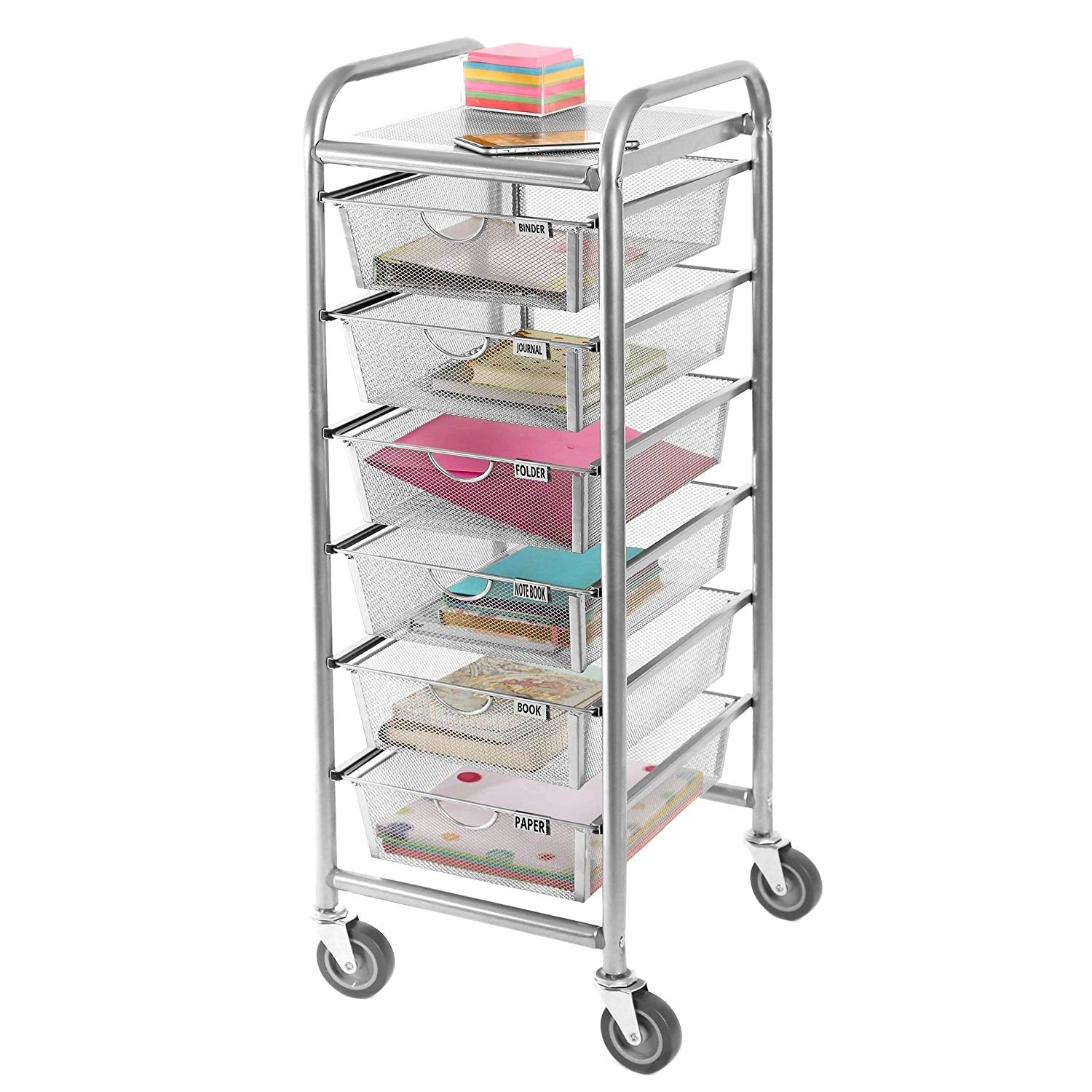 Silver 6 Drawer Organizer 12X38 Inch Large Storage Box Dorm Room Classroom Bedroom Tall Cart Drawer Decorative Modern Metal