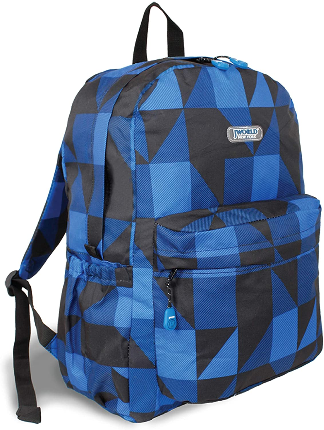 Block Navy OZ Expandable 17 inch Backpack Black Blue Plaid Polyester Laptop Compartment Adjustable Strap Lined Water Resistant