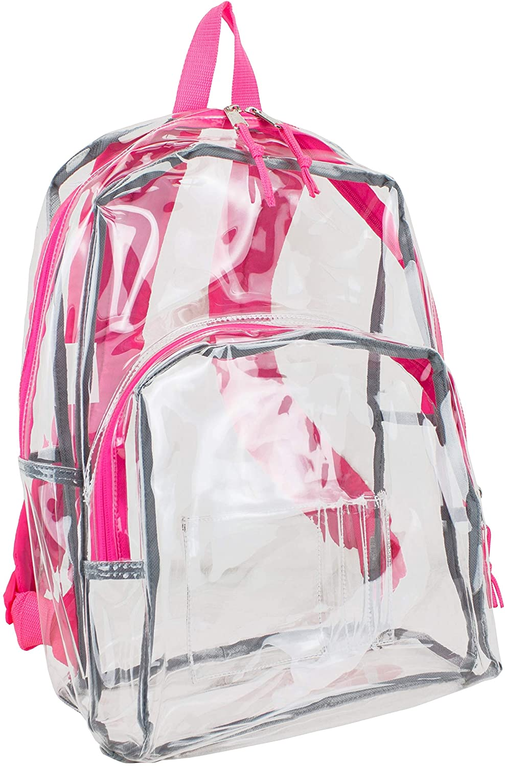 Clear Backpack Fully Transparent Padded Straps Pink Solid Plastic Compartment