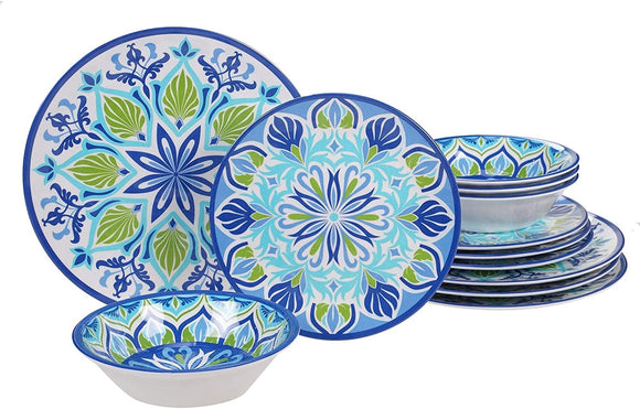 Dinnerware Set Blue Color Floral Casual Modern Contemporary Round Ceramic 12 Piece Dishwasher Safe