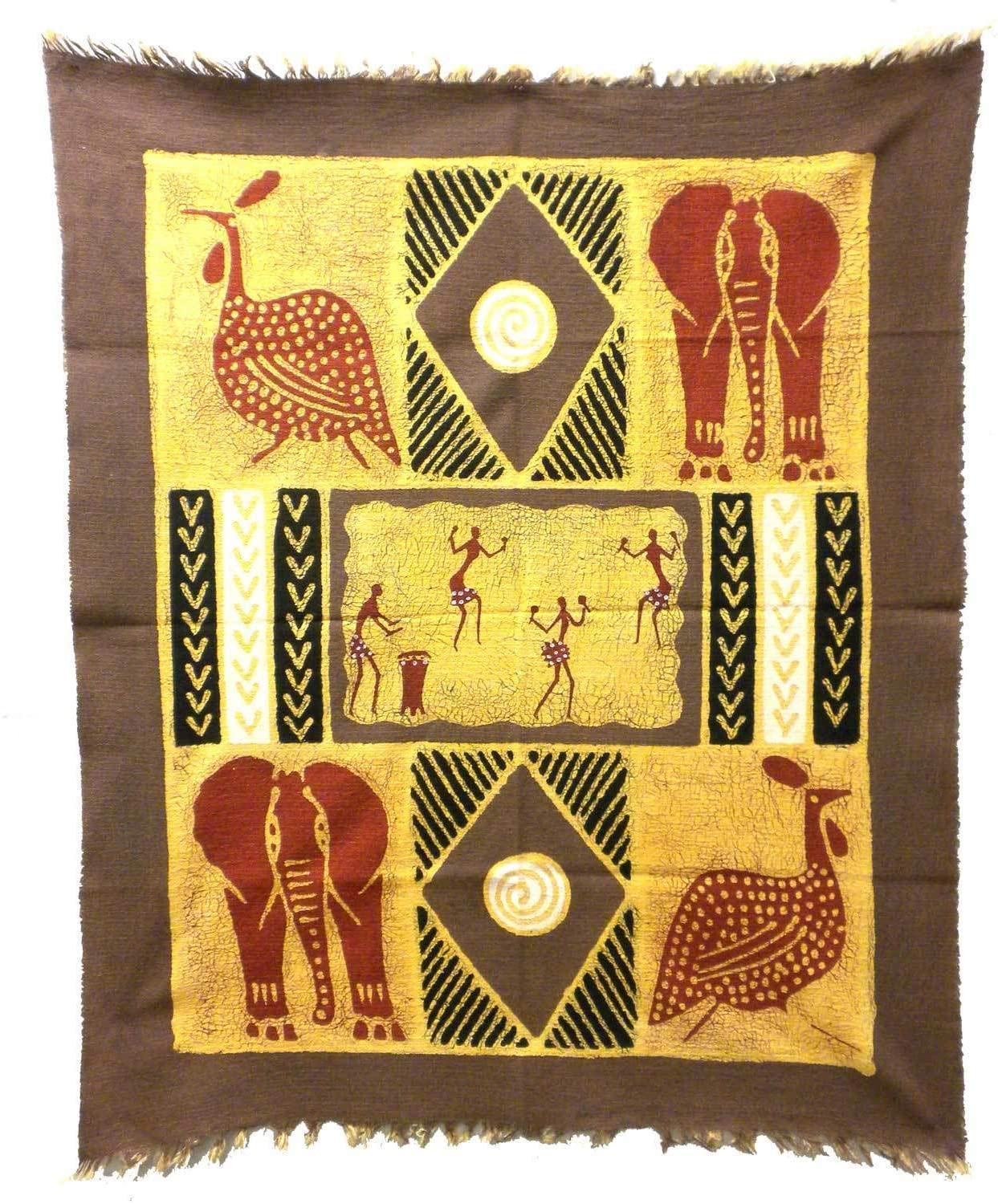 Handmade Grey/Red Dancers Animals (Zimbabwe) Grey Blended Fabric