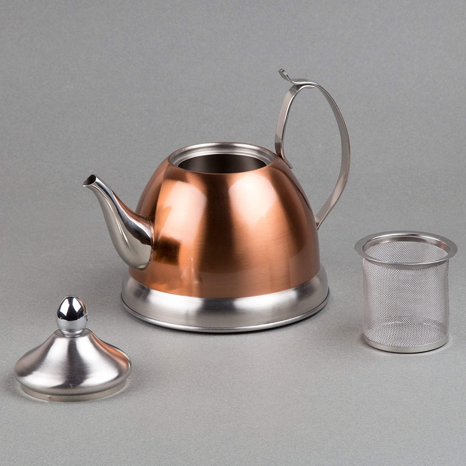 1 0 Qt Stainless Steel Copper Tea Kettle Removable Infuser Basket