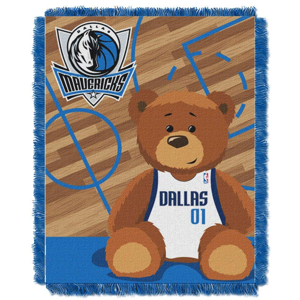 "36""x46"" NBA Mavericks Baby Throw Sports Basketball Blanket Teddy Bear Animal Team Logo Printed Plush Cozy Throw Blanket Kids Soft Warm Bedding Fringed"