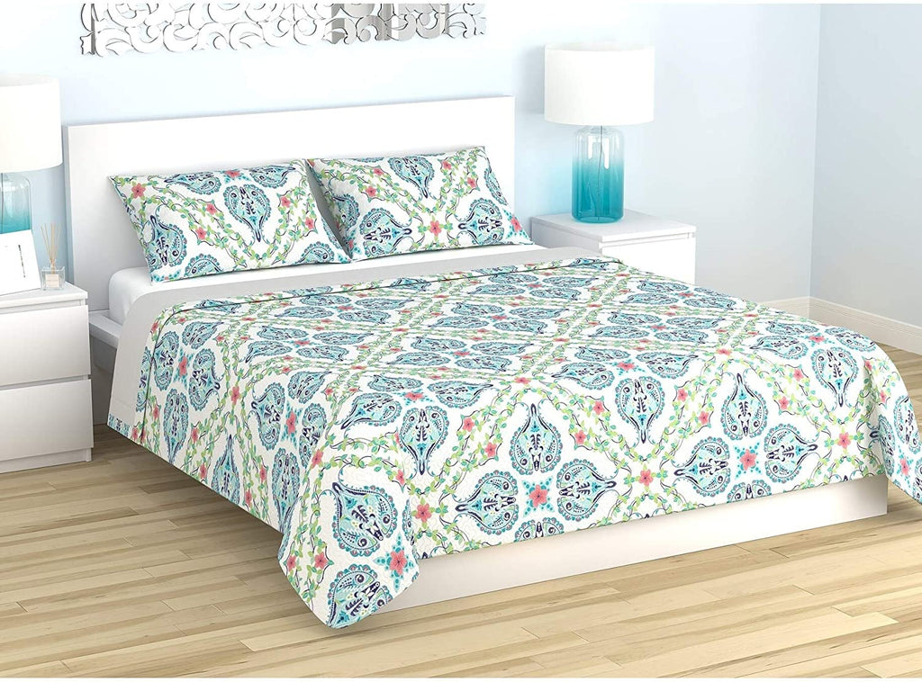 Comforter Set 4 Piece Full Queen Morocco White Paisley Modern Contemporary