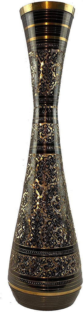 Brass Floral Black/Gold Table Vase Gold Mid Century Modern Traditional Handcrafted