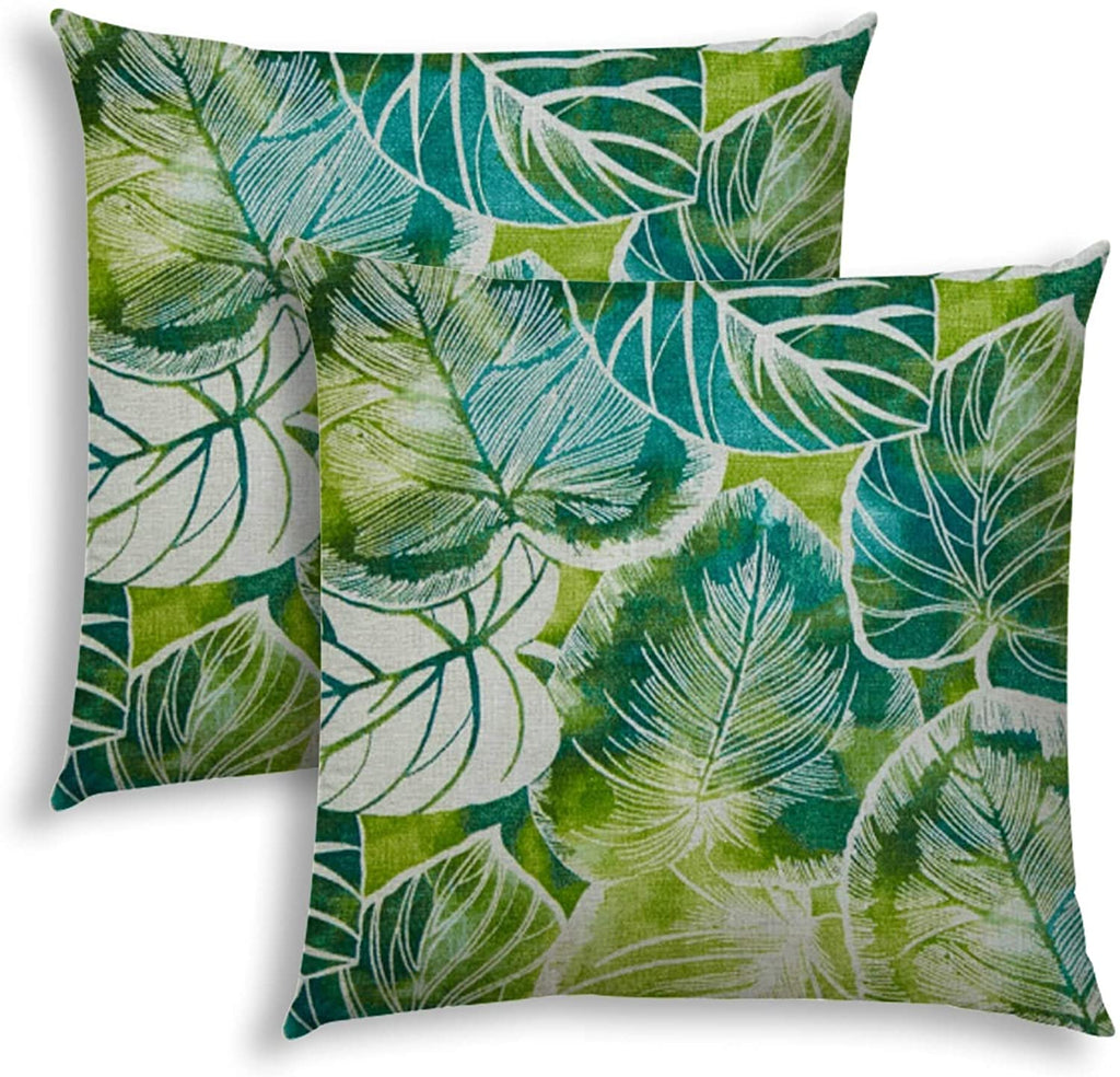 Teal Indoor/Outdoor Pillows Sewn Closure (Set Two) Color Graphic Modern Contemporary Polyester Water Resistant
