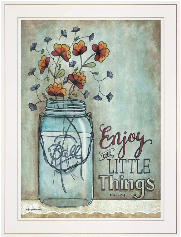 Enjoy Little Things Ready Hang Framed White Frame Modern Contemporary Rectangle Made USA