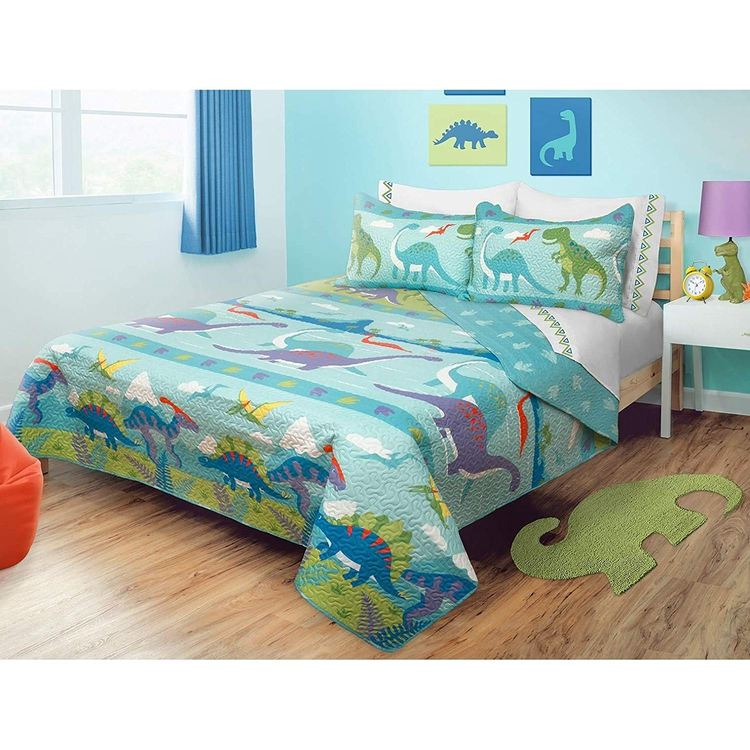 3 Piece Dinosaur Quilt Full Size Set Colorful Aqua Blue Double Dino Themed Bedding Kids Bedroom Polyester Microfiber