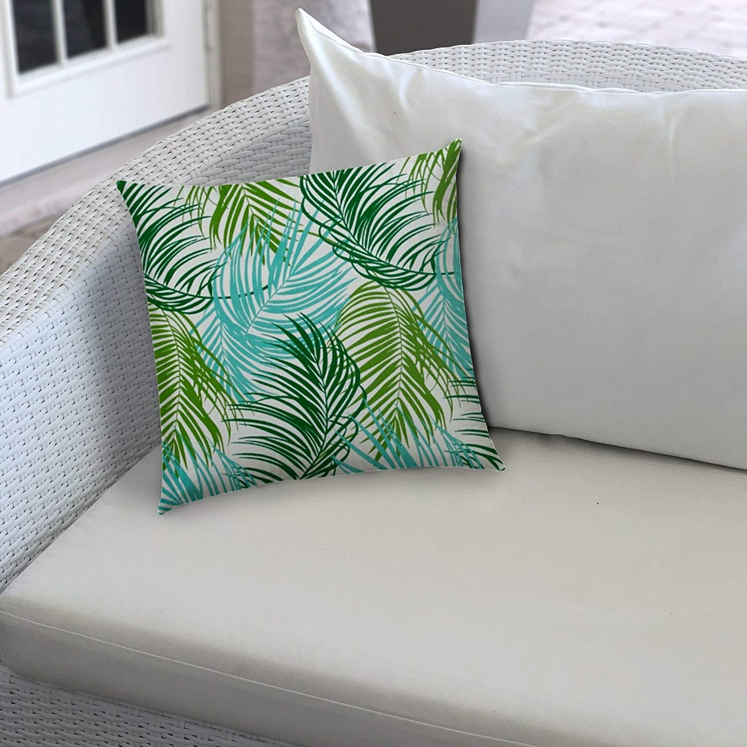 Plume Aqua Indoor/Outdoor Pillow Sewn Closure Color Graphic Modern Contemporary Polyester Water Resistant