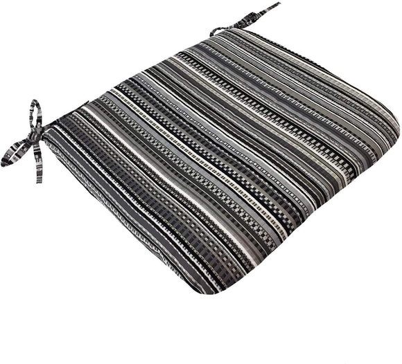 Universal Seat Cushions (Set 2) Black Striped Modern Contemporary Polyester Fade Resistant Set Uv