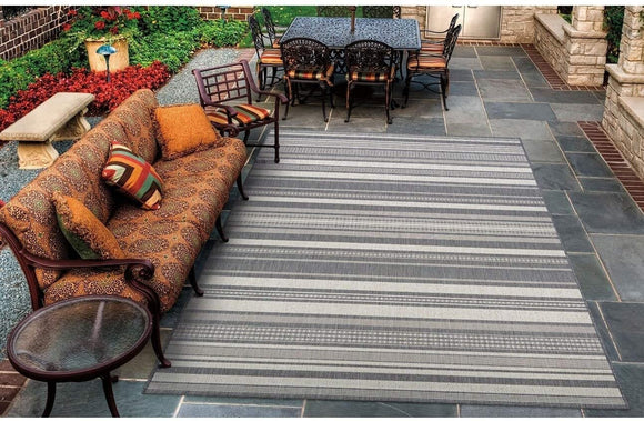 Stripe Champagne Grey Indoor/Outdoor Area Rug 5'10