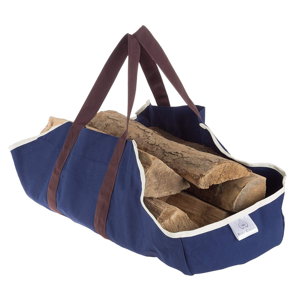 Blue Log Carrier Canvas Firewood Tote Fire Wood Carrying Bag Timber Holder Strong Straps Handles Heavy Duty Polyester