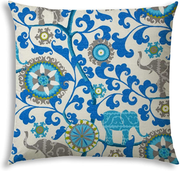 Indoor/Outdoor Pillow Sewn Closure Color Floral Modern Contemporary Polyester Water Resistant