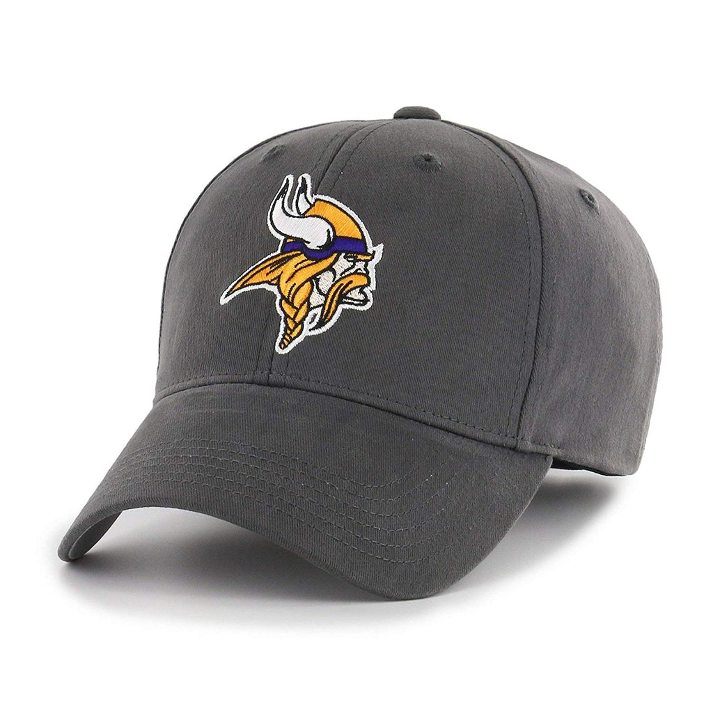 Grey NFL Minnesota Vikings Cap Sports Football Hat Team Logo Athletic Games Baseball Cap Hat Boys Kids Unisex Fan Gift Adjustable Strap Closure