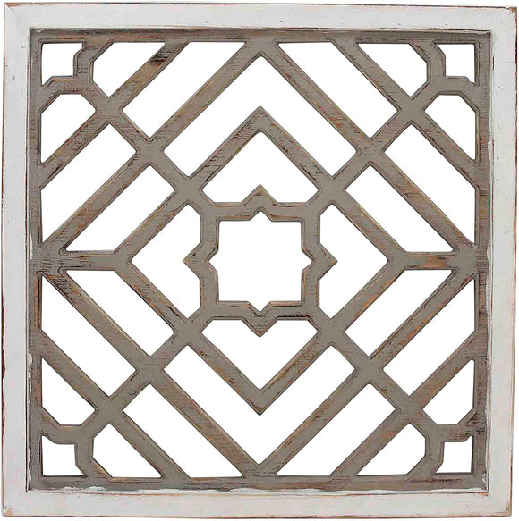 Weathered White Square Pattern Wood Wall Art Transitional