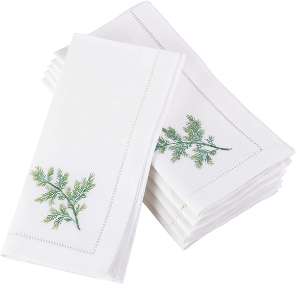 Dill Embroidered Hemstitched Cotton Napkin (Set 6) White Solid Country Farmhouse Rustic Square