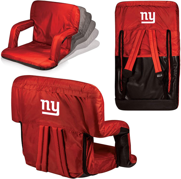 MISC Red NFL New York Giants Ventura Seat Football Themed Armrests Adjustable Backpack Straps Seat Beach Pool Picnics Dorm Living Room Team
