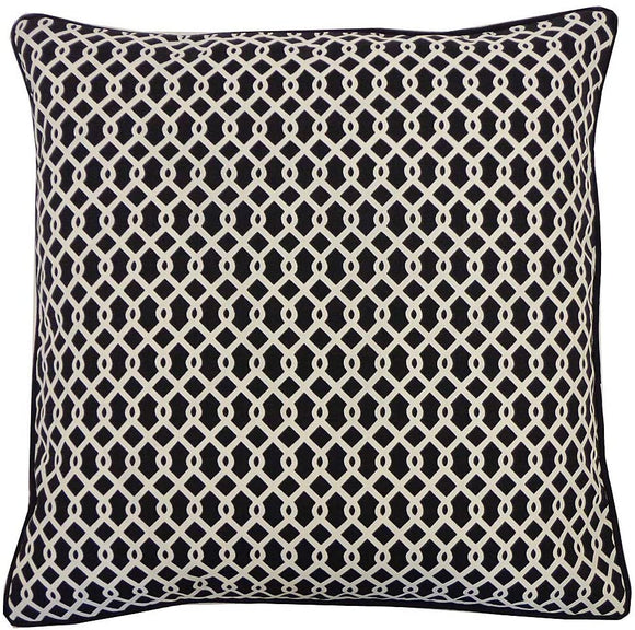 Handmade Grid Black Geometric Pillow 20