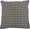 "Handmade Grid Black Geometric Pillow 20"" X White Polyester"
