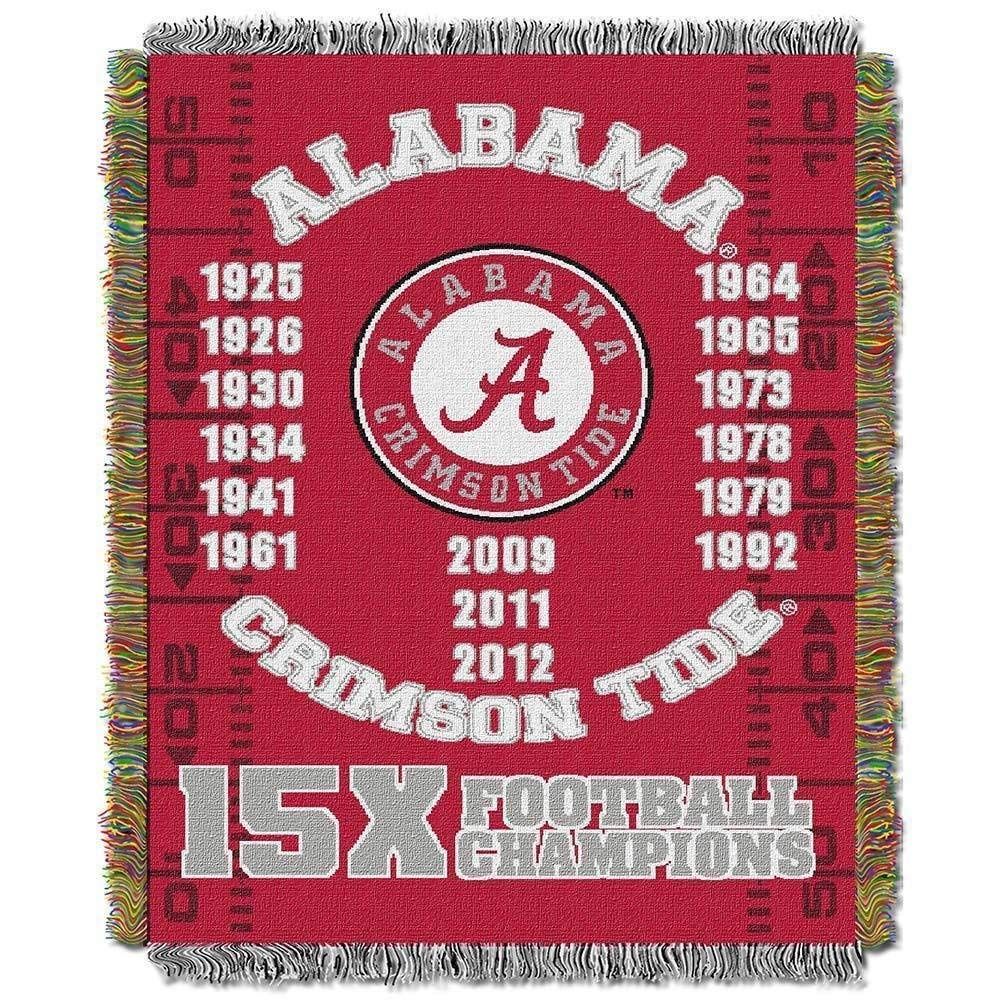48 x 60 NCAA Crimson Tide Throw Blanket Red White College Theme Bedding Sports Patterned Collegiate Football Team Logo Fan Merchandise Athletic Team