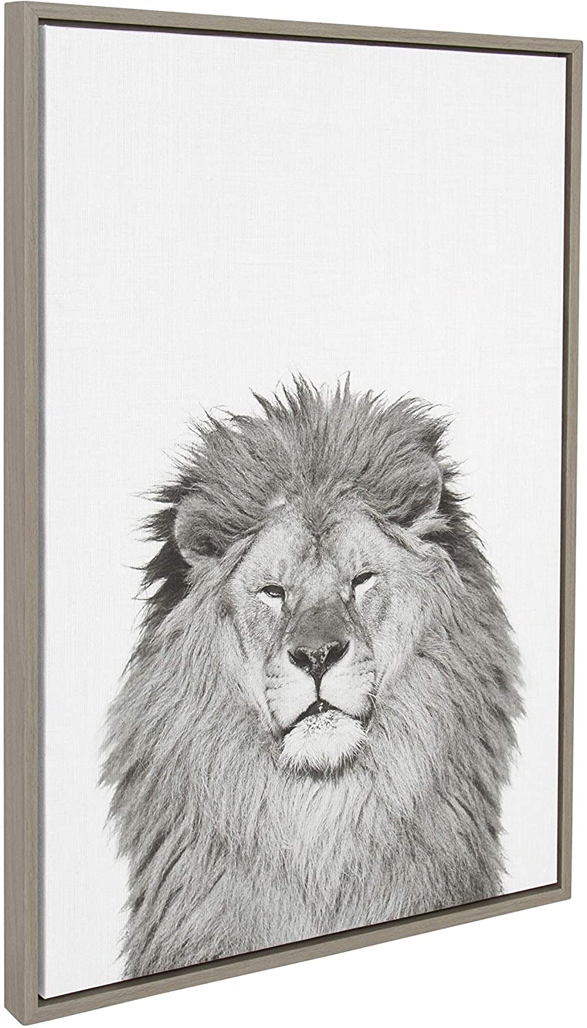 Lion Framed Canvas Wall Art Te Tai Gray 23x33 Modern Contemporary Rectangle