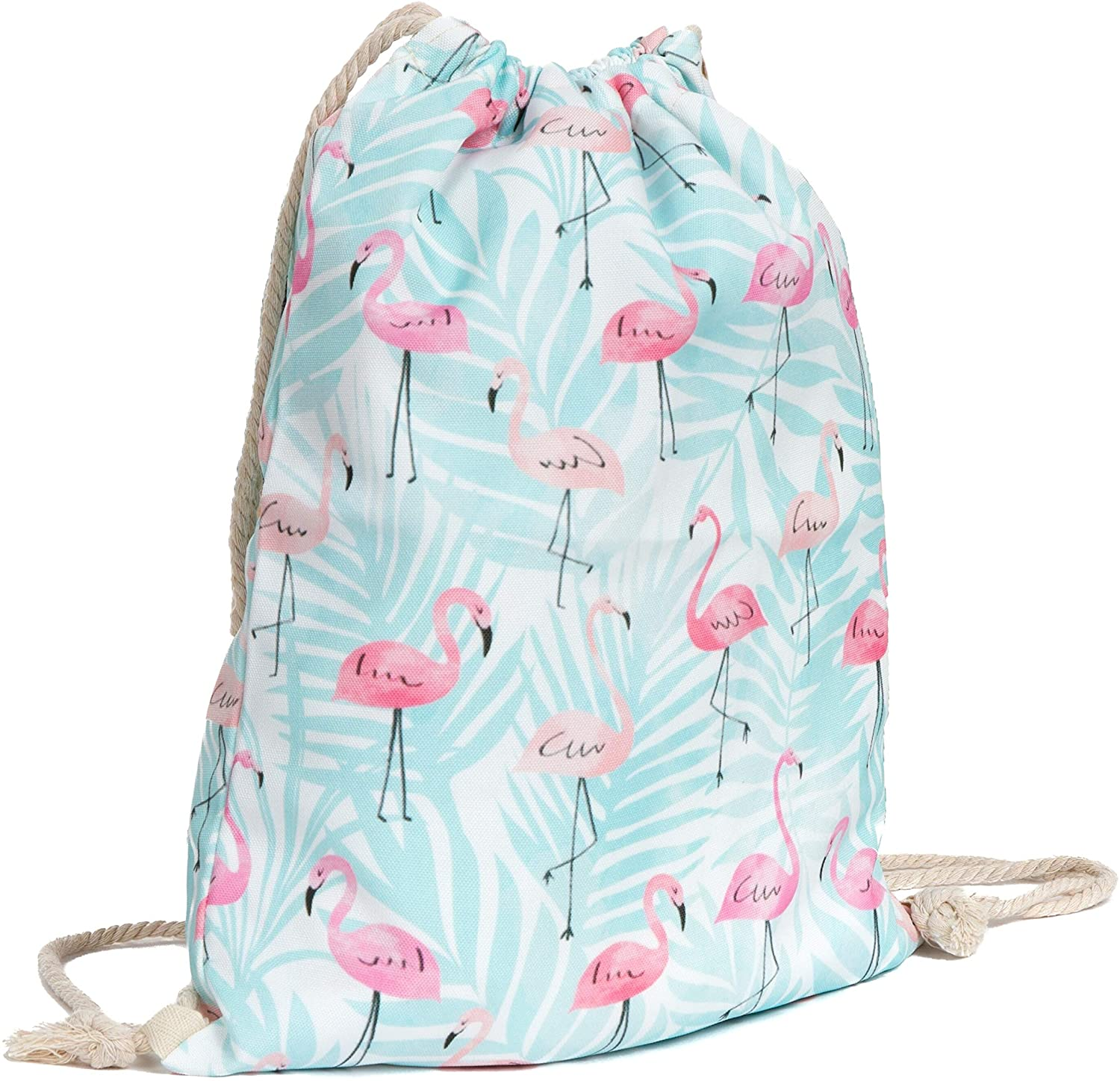 Drawstring Bag Blue Flamingo Backpack Animal Polyester Foldable